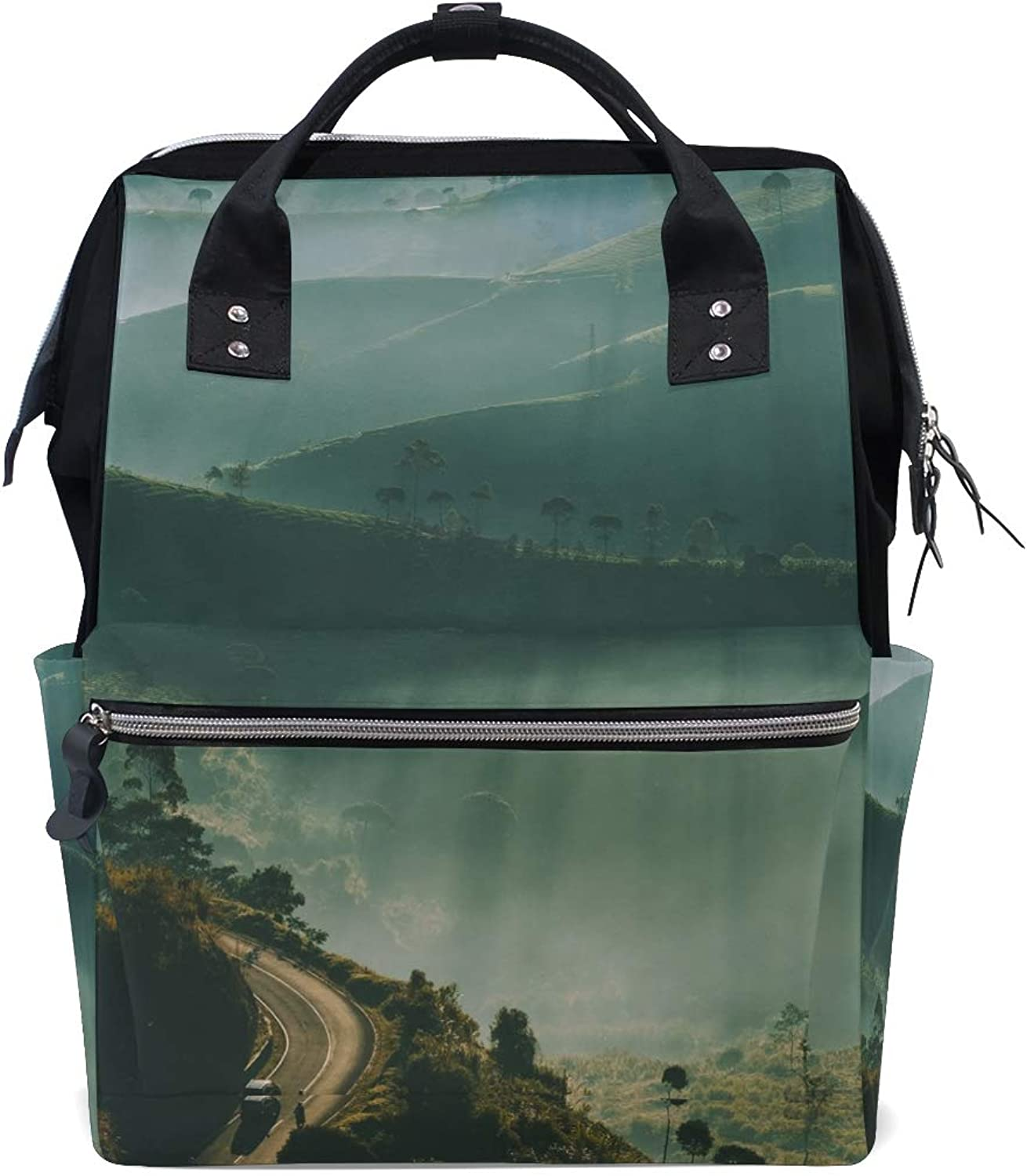 MONTOJ Hazy Green Hilly Mountain Canvas Travel Bag Campus Backpack