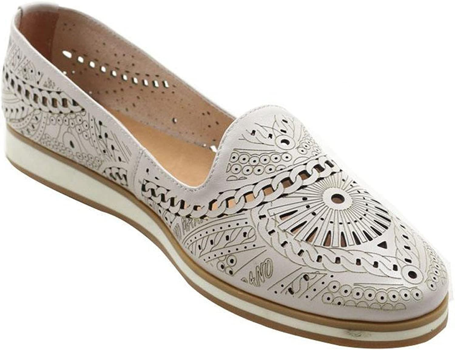 LIDIAN Women Leather Laser Cut Perforated Flat Loafers