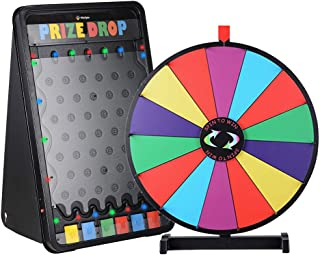 "WinSpin 19""x30"" LED Prize Drop Board Game and 24"" Tabletop Spinning Prize Wheel Bundle"
