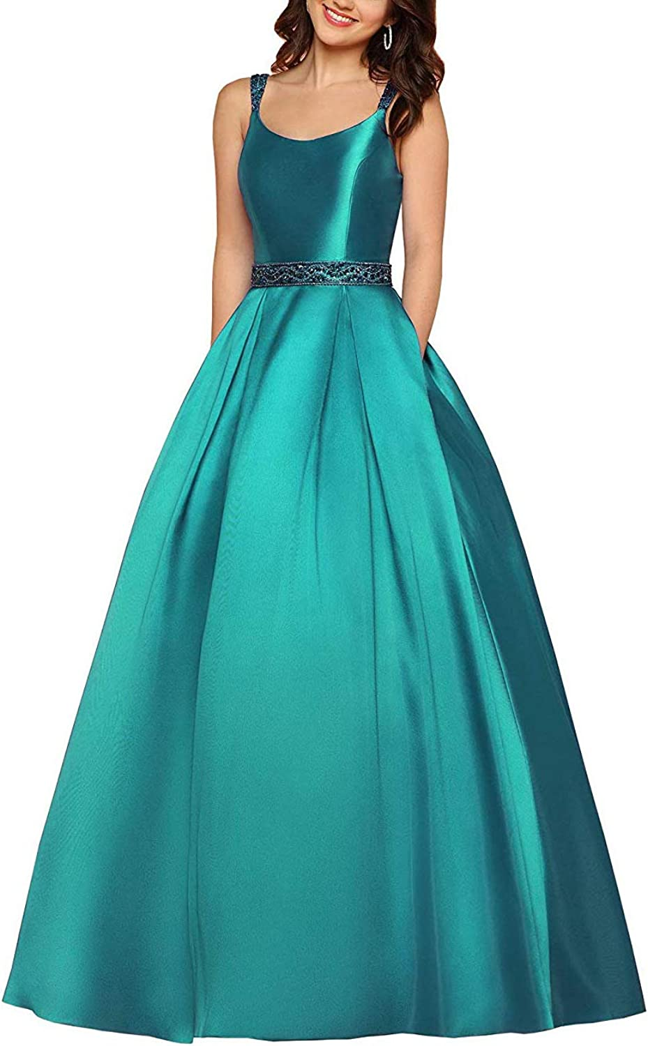 Long Prom Gown for Women Beaded Prom Dresses with Pockets Aline Evening Ball Gowns