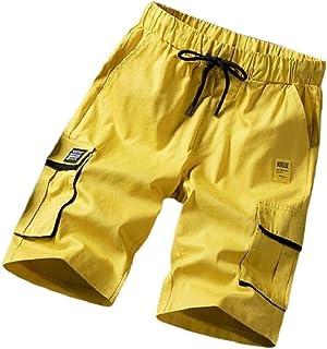 FSSE Men's Summer Elastic Waist Big Pockets Athletic Plus Size Shorts