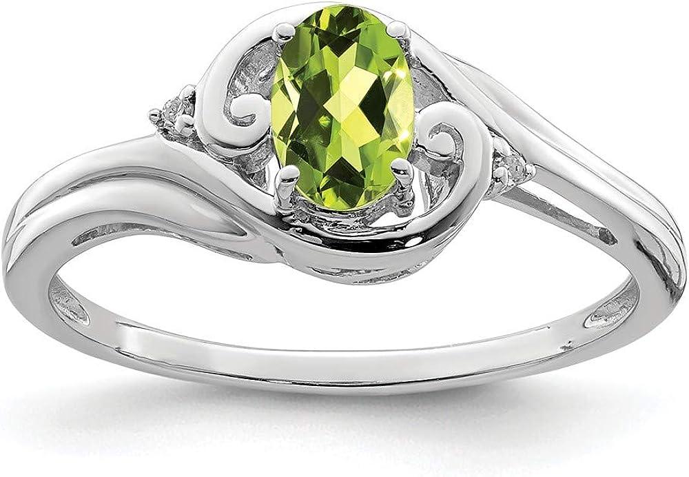 925 Sterling Silver Diamond Green Band Gemstone San Diego Mall Max 78% OFF Peridot Fin Ring