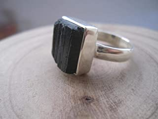 Genuine Raw Black Tourmaline 925 Sterling Silver Stack Ring,Size 9.5 US, RBT1