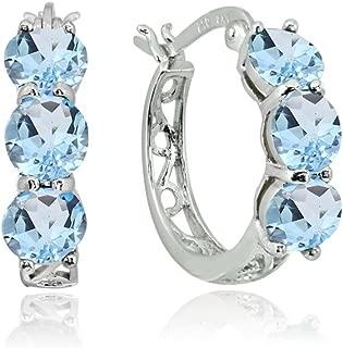 Sterling Silver Genuine, Created or Simulated Gemstone Round Filigree 3-stone Huggie Hoop Earrings