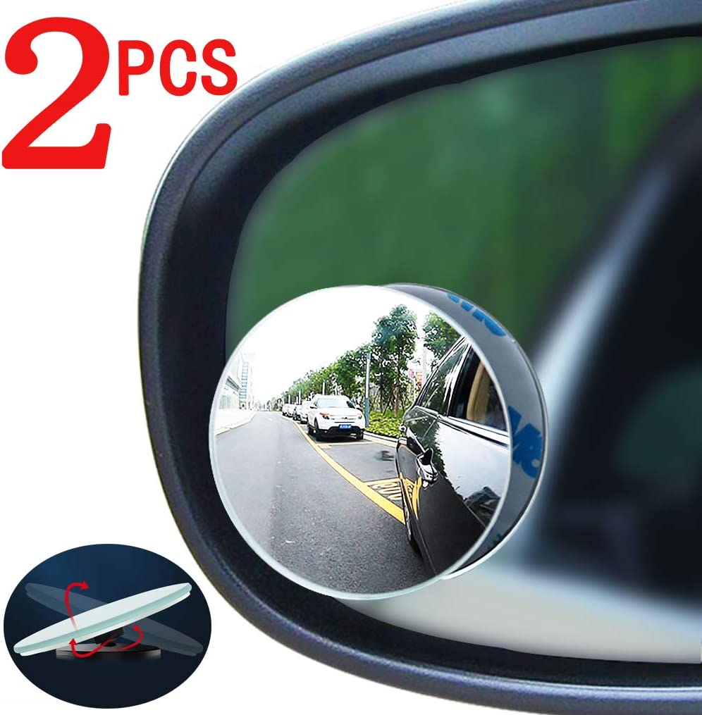 rectangular frameless convex high-definition glass rearview mirror Car blind spot mirror 2PCS 360/°rotation adjustment suitable for all cars SUVs and trucks off-road vehicles