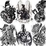 6 Sheets FANRUI Large Gladiator Temporary Tattoos For Men Boys, Women Waterproof Black Spartan Warrior Fake Tattoo Superhero Kit Sets, Tribal Arm Lion Eagle Adults Temp Tatoos Transfer Fighter Tatto