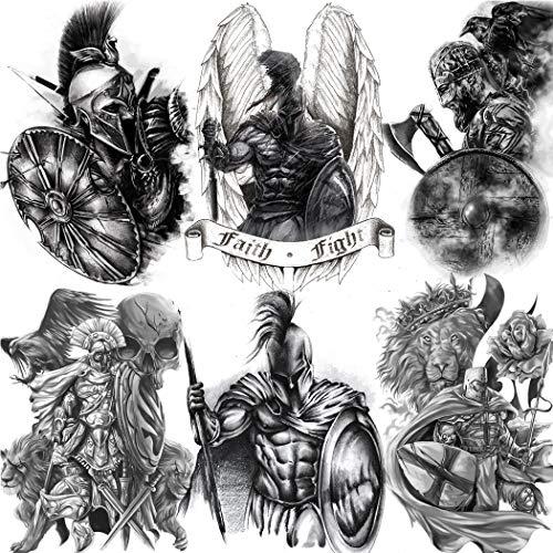 NAPPO 6 Feuilles 3D Grand Gladiateur Tatouages Ephemere Homme, Tattoos Noir Tribal Spartiate Guerrier Faux Tatouage Femme Super-Héros Kit, Courageux Combattant Lion Tatouage Temporaire Adulte