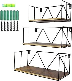 Floating Wall Shelves Set of 3, Black Metal Wire Hanging Rustic Storage Shelf Decor Organizer for Bedroom Bedside Kitchen Bathroom Living Room
