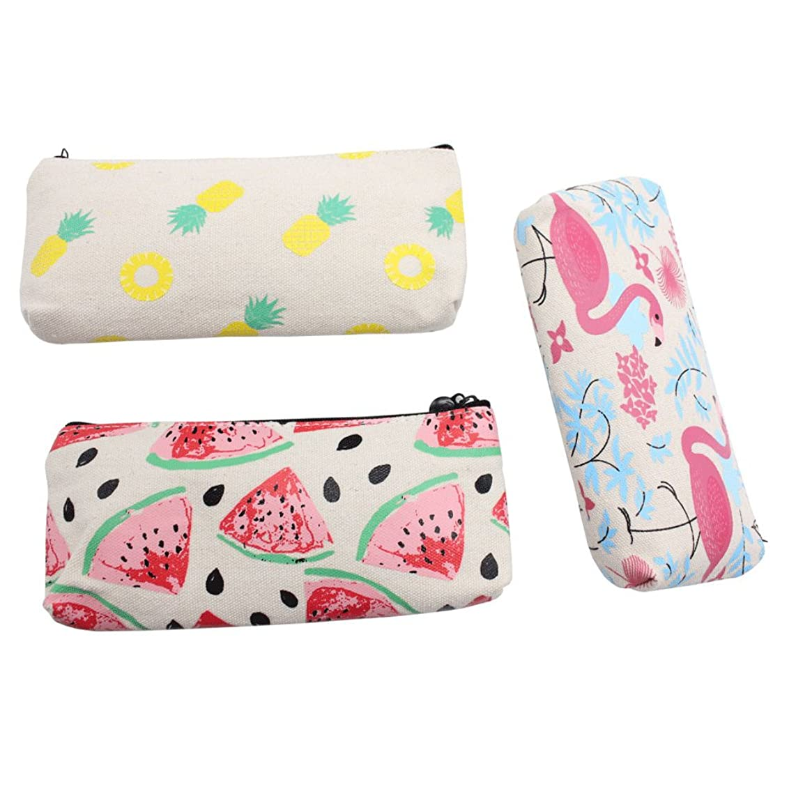Mziart Cute Fruit and Flamingo Canvas Pencil Bag Holder Pen Case Stationery Makeup Cosmetic Pouch Bag with Zipper, Set of 3