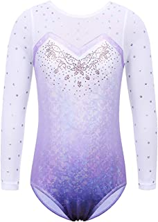 Gymnastics Leotards for Toddler Girls Shiny Lace Spliced Dance Outfit Athletic Apparel