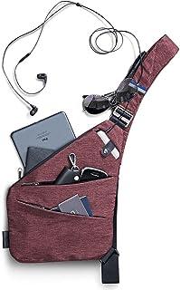 NIID FINO Classic Sling Schulter Crossbody Brusttasche Schlank Rucksack Multipurpose Daypack Weinrot, Linke Hand