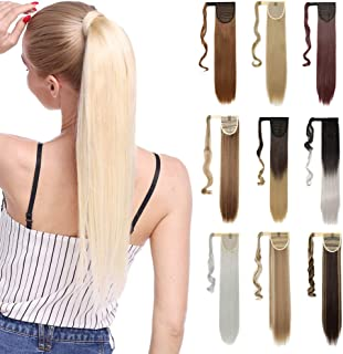 S-noilite Wrap Around Ponytail Hair Extension One Piece Magic Paste Hairpiece Synthetic Straight Curly 17-26''