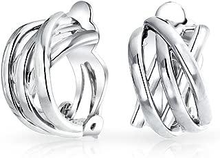 Criss Cross Knot Weave Half Hoop Clip On Earrings Non Pierced Ears