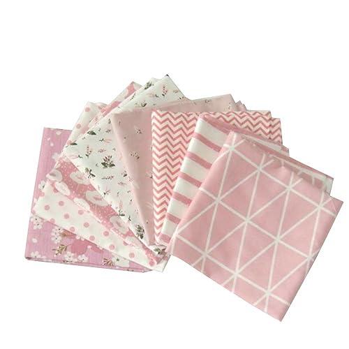Souarts 8PCS Mixtes Textile Tissu Coton pour DIY Patchwork Artisanat Couture Rose 50cmx50cm