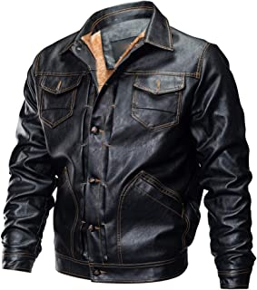Leather Coats for Men, F_Gotal Mens Autumn Winter Fur Shearling Vintage Button Down Leather Jacket Coat Pea Coat Outwear