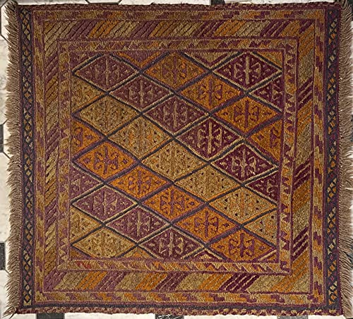 Alfombra oriental afgana hecha a mano Kilim de lana de colores naturales afganos turcos nómada persa tradicional persa 112 x 114 cm vintage corredor pasillo escalera reversible