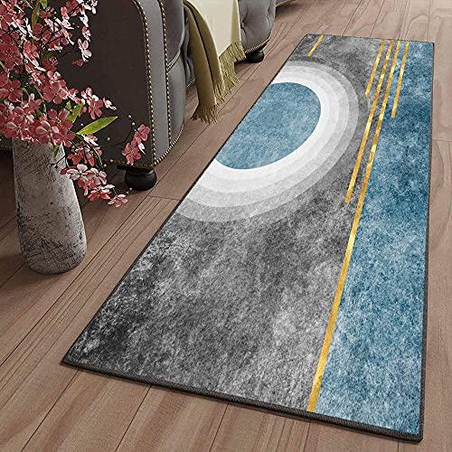 Tappeto Passatoia Corridoio Cucina da Ingresso Ufficio Antiscivolo Geometria grigio blu 60X180CM Rettangolo