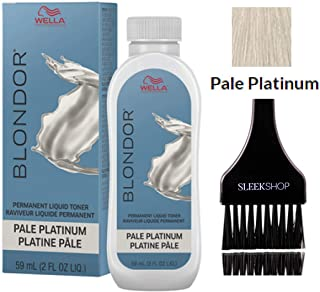 Wella BLONDOR Permanent Liquid Hair TONER (w/Sleek Tint Brush) Haircolor Hair Color Dye (18 Pale Platinum)