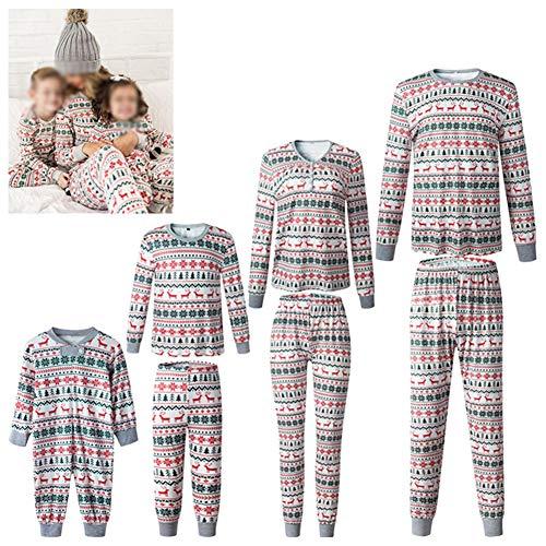 HEWYHAT Weihnachtspullover Familienpyjamas Set, Männer Frauen Kinder Pullover Strick Rundhals Nachthemd Nachtwäsche mit Baum- und Hirschmotiven,Baby,XL