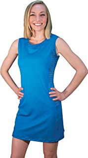 Peachy Tan Roxanna Sportech Striped Mesh Dress