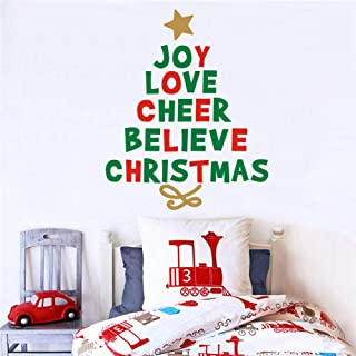 IARTTOP Creative Christmas Quotes Tree Wall Decal, Joy Love Cheer Believe Christmas Sticker for Window Clings Living Room Bedroom Decor Christmas Party Theme Decoration