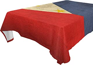 Retro Philippine Flag Vintage Rectangle Table Cover Polyester Tablecloth for Weddings Banquets Restaurants 60x90 inch