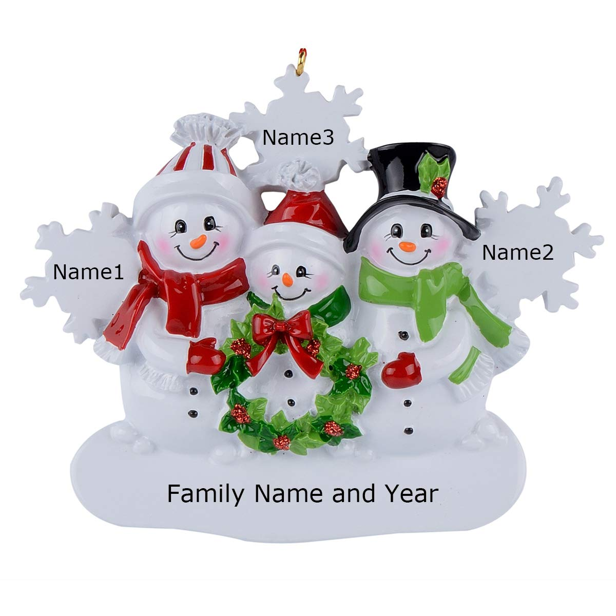 Image of Fun Snowman Personalized Family Ornament