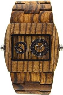 Bewell W021C Dual Time Zone Analog Casual Wooden Watch for Men, Brown Rectangle Luminous Quartz Wristwatch