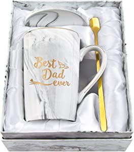 Best Dad Ever Coffee Mug - Best Dad Gifts - Fathers Day Dad Gifts for Dad from Daughter Son - Dad Coffee Mug - Coffee Mugs for Dad 14Oz Gray Marble Mug with Exquisite Box Spoon Coaster