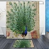 JSTEL Vintage Peacock 3-piece Badezimmer-Set maschinenwaschbar, für den täglichen Gebrauch, 60x 72cm, wasserdicht, Duschvorhang, 12Haken mit rutschfester Badteppich, Teppich, Set mit 3Stück