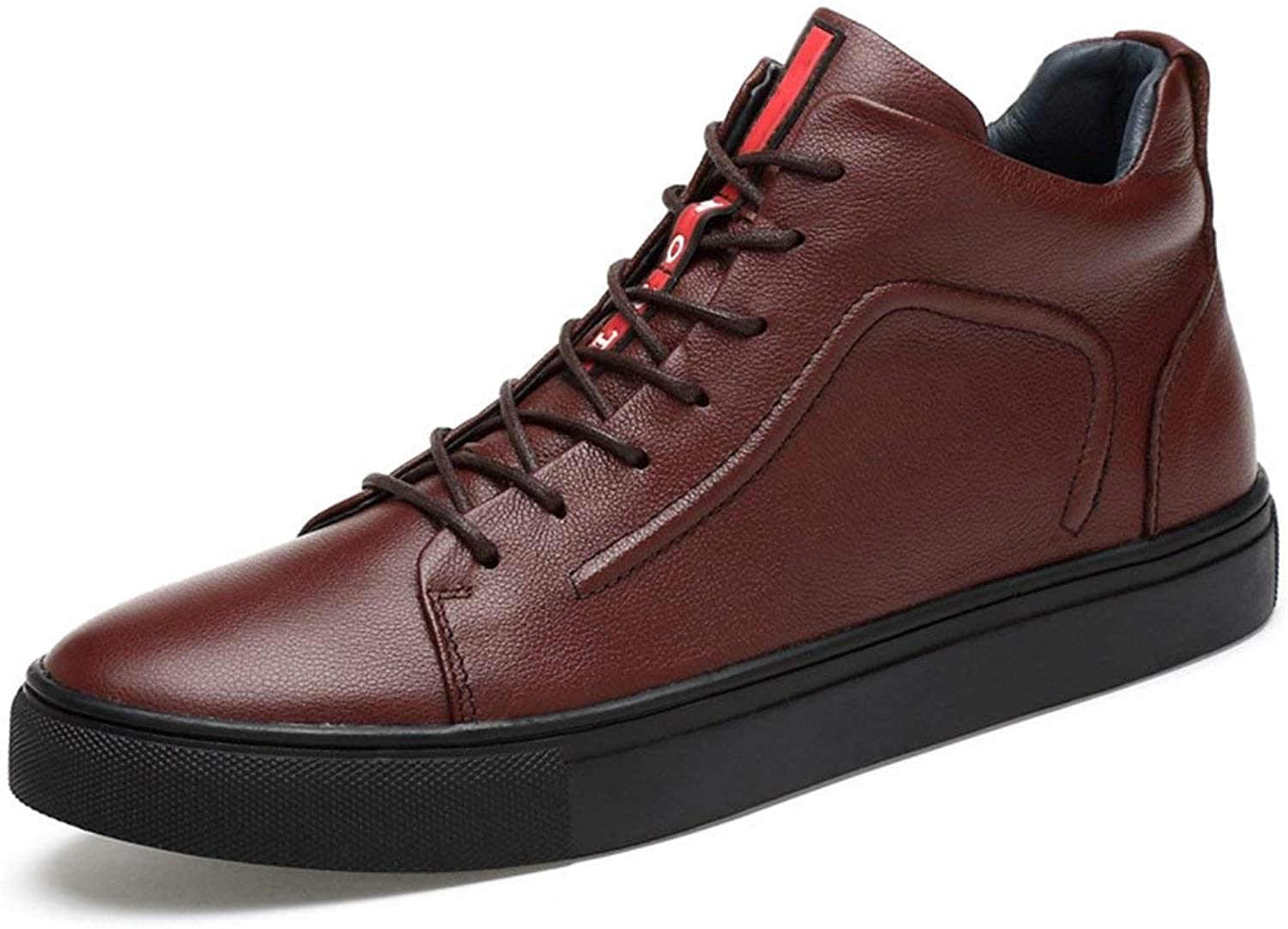 ZHRUI Boy's Men's Red Stripe Padded Fashion Chukka Ankle Boots (color   Brown, Size   5.5 UK)