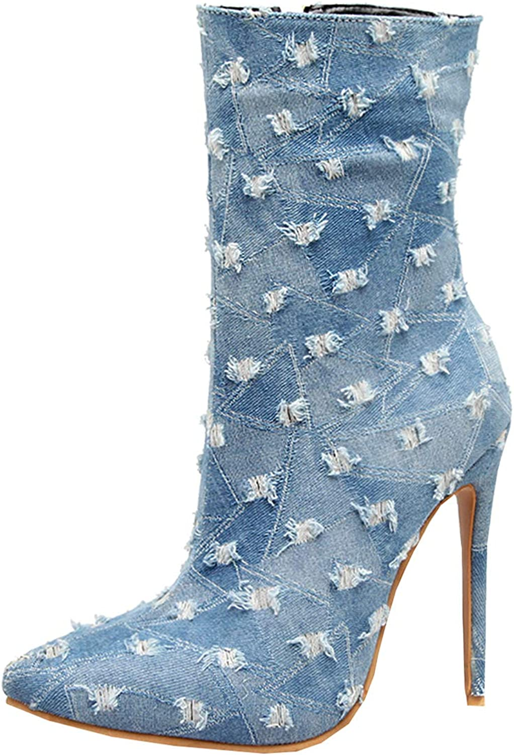 Artfaerie Womens Denim Ankle Boots Stiletto High Heel Canvas Booties Pointed Toe Casual Party Ladies shoes