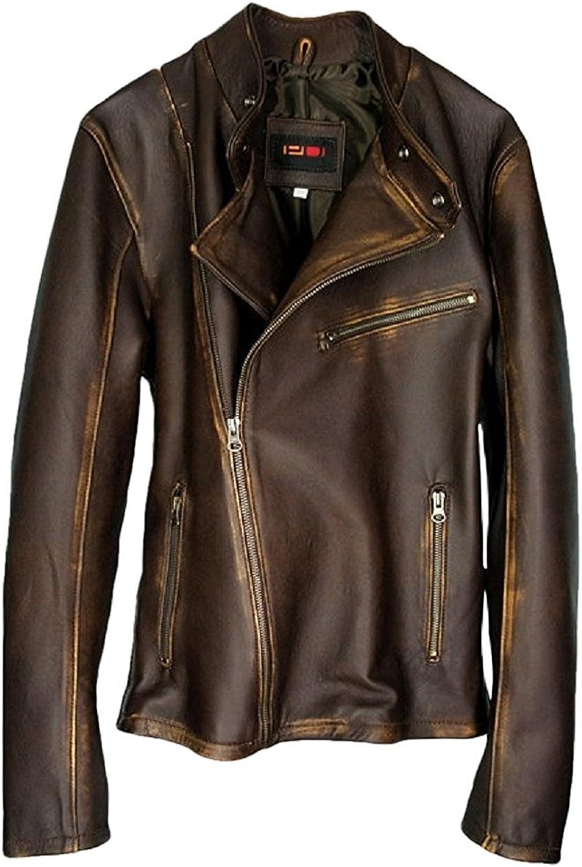 DashX KennaW Women's Leather Jacket Lambskin Distressed Brown