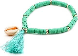 Colorful Bohemian Handmade Rainbow Clay Disc Beaded Shell Pendant Adjustable Stretch Elastic Bracelets Friendship Summer B...