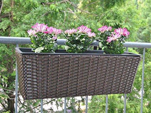 Pflanzkübel Blumenkübel Blumenkasten Rechteck Polyrattan LxBxH 60x19x20cm braun