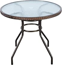 "TANGKULA 32"" Patio Table Outdoor Round Wicker Covered Edge with Tempered Glass Top and Umbrella Insert Coffee Dining Tabel..."