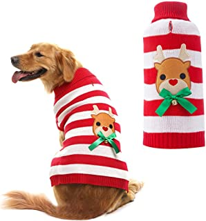 Orangexcel Christmas Dog Knitted Sweater Cute Reindeer Xmas Holiday for Puppy Pet