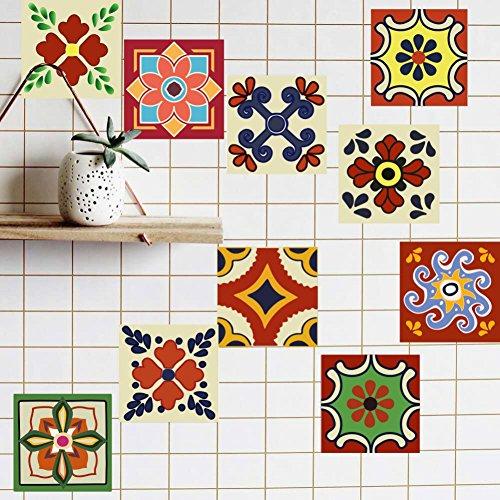 Etopfashion Tile Sticker, Pack of 20 Mandala Peel And Stick Wall Tile Sticker Art Kitchen Stickers