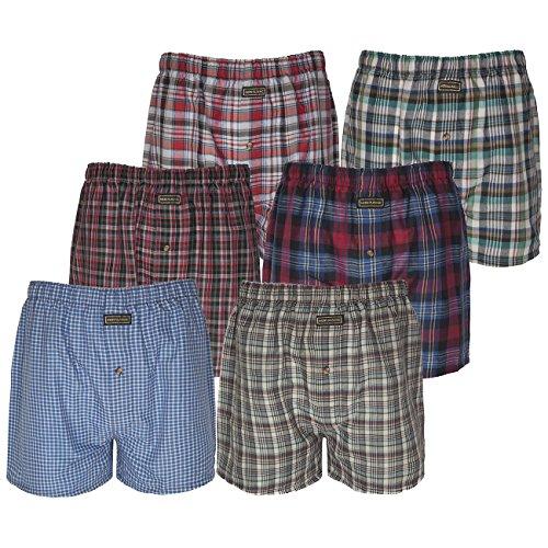 Lot de 6 boxers en coton tissé pour homme - Multicolore - moyen