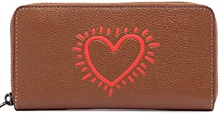 Coach Keith Haring pebble Leather Accordion zip Wallet In Saddle Heart