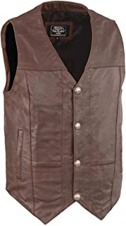 Milwaukee Leather LKM3702-BRKBR-XL Men's Western Style Vest with Buffalo Snaps Broken Brown, X-Large