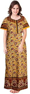 YUKATA Womens Cotton Printed Nighty, Free Size(YELLOW1)