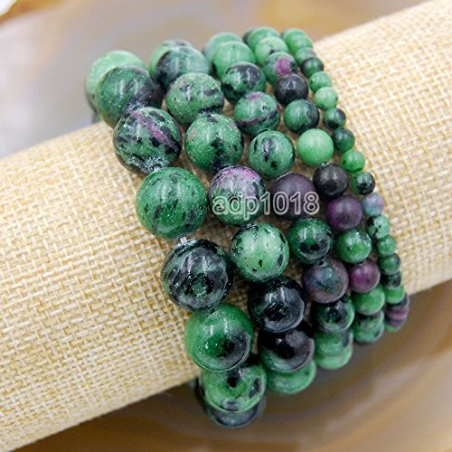 Wholesale Natural Gemstone Beads Stretch Bracelet Healing Reiki 4,6,8,10,12mm (6mm, Red Ruby Zoisite)