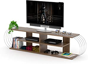 Home Canvas Case TV Unit Modern Living Room Made In Turkey(Walnut-Chrome)