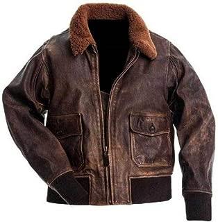 A2 Navy Flight Men Distressed Brown Genuine Leather Aviator Bomber Jacket