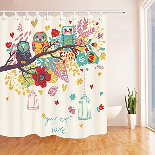 UIOIU Home Decor Duschvorhänge, lustige Cartoon-Eulen auf dem Ast, Badezimmer, wasserdichter Polyester-Stoff, Duschvorhang mit Haken 182,9 x 198,1 cm