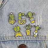 JWGD Cactus Planta de Tiesto pasadores Historieta de la Manera suculenta de broches de Insignias de Solapa Pines Olla de Esmalte for la Mujer Denim Jackets Camisa de joyería (Talla : 02)