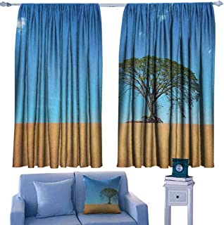 Mannwarehouse Tree Noise Reduction Curtain Sandy Desert Picture with Big Tree Clear Sky Summertime Hot Weather Nature Art Privacy Protection 63