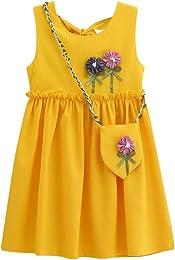 wuayi Robes de Filles, Robe Solide de Fleurs Bébé