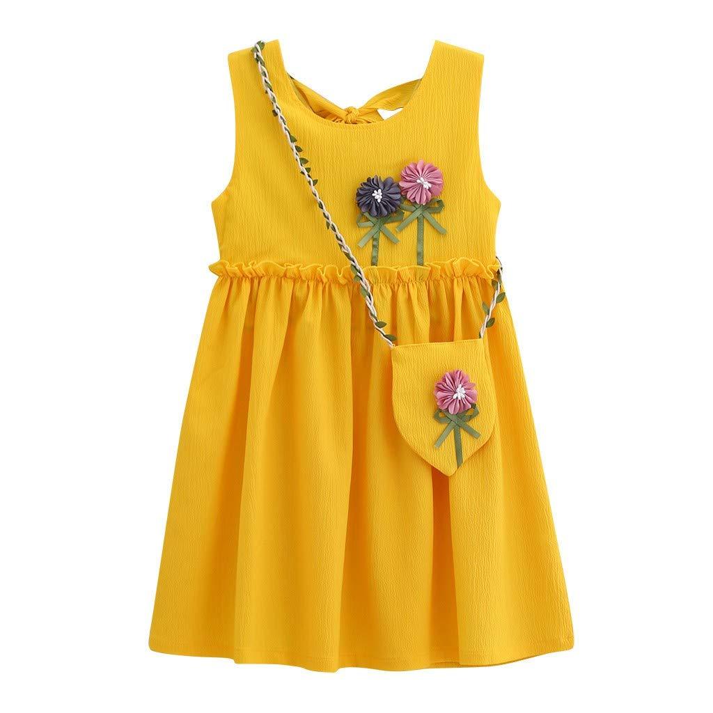 wuayi Robes de Filles, Robe Solide de Fleurs Bébé sans Manches + Sac Vêtements D'été Décontractés 2-8 Ans